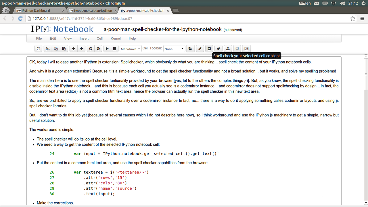 A 'poor man' spell checker for the IPython notebook